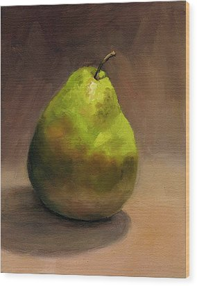 Wood Print featuring the painting Single Pear No. 1 by Vikki Bouffard