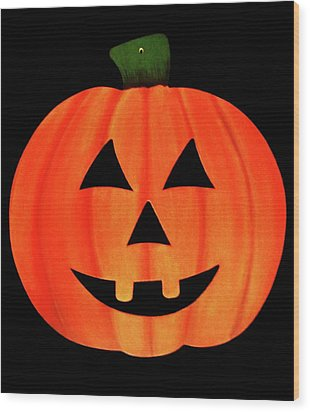 Single Smiling Jack-o'-lantern Wood Print