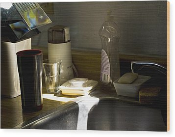 Sink After Roasting Coffee Wood Print by Larry Darnell