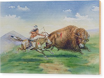 Sioux Hunting Buffalo On Decorated Pony Wood Print by American School