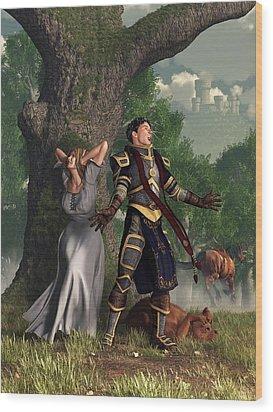 Sir Justinus The Singing Knight Wood Print by Daniel Eskridge