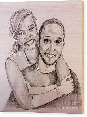 Wood Print featuring the pastel Sister And Brother by Amanda Dinan