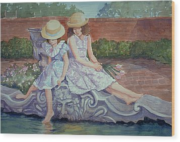 Sisters At The Fountain Wood Print