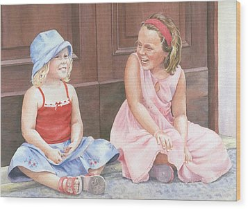Sisters On Holiday Wood Print by Maureen Carter