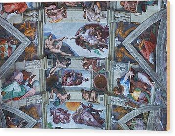 Sistine Chapel Ceiling Wood Print by Bob Christopher