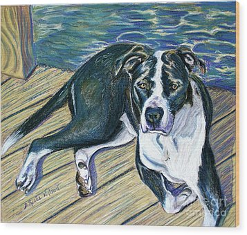 Wood Print featuring the painting Sittin' On The Dock by D Renee Wilson