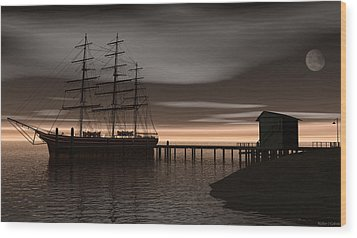 Wood Print featuring the digital art Sitting At The Dock Of The Bay by Walter Colvin