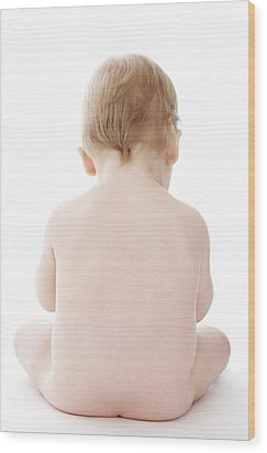 Sitting Baby Wood Print by Ruth Jenkinson