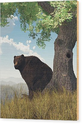 Sitting Bear Wood Print by Daniel Eskridge