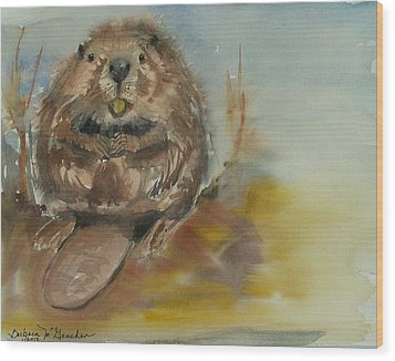 Sitting Beaver Wood Print by Barbara McGeachen
