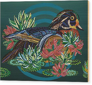 Sitting Duck Wood Print by Erika Pochybova