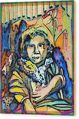 Sitting Gertie Wood Print by Mindy Newman