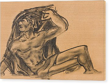 Sitting Human Charcoal Drawing  Wood Print by Odon Czintos