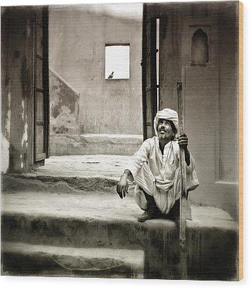 Sitting On Stairs Wood Print by Mostafa Moftah