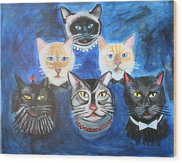 Six Cats Wood Print by Cheryl Scribner