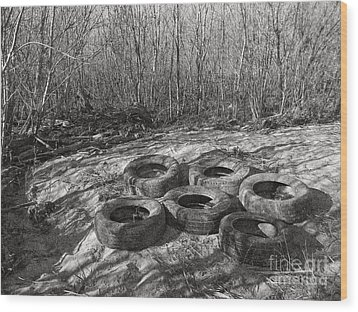 Six Tires Wood Print by Janeen Wassink Searles