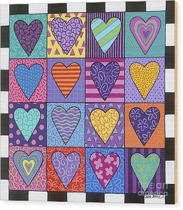 Sixteen Hearts Wood Print by Carla Bank