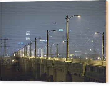 Sixth Street Fog Wood Print by Kevin  Break