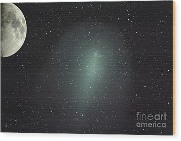 Size Of Comet Holmes In Comparison Wood Print by Rolf Geissinger