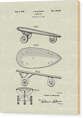Skateboard Coaster Car 1948 Patent Art  Wood Print by Prior Art Design
