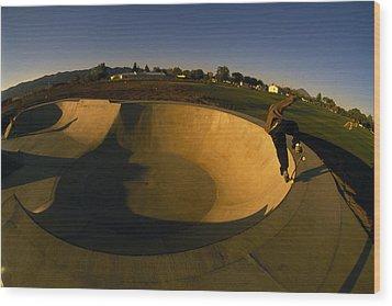 Skateboarding In A Skate Park Wood Print by Bill Hatcher