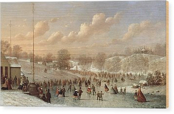 Skating Scene Wood Print by Johann Mongels Culverhouse