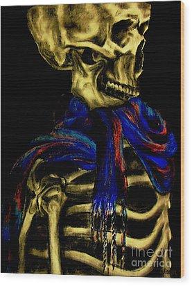 Skeleton Fashion Victim Wood Print by Tylir Wisdom