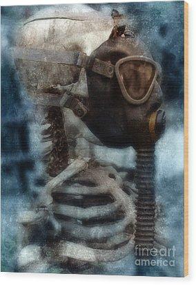 Skeleton In Gas Mask Wood Print by Jill Battaglia