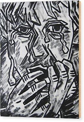 Sketch - Weeping Child Wood Print by Kamil Swiatek