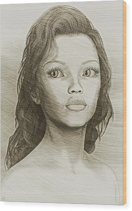 Wood Print featuring the digital art Sketched Portrait by Maynard Ellis