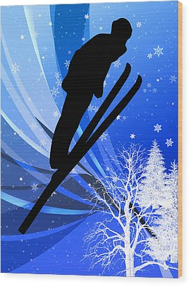 Ski Jumping In The Snow Wood Print by Elaine Plesser