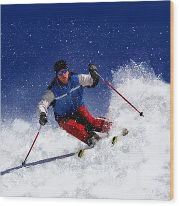 Skiing Down The Mountain Wood Print by Elaine Plesser