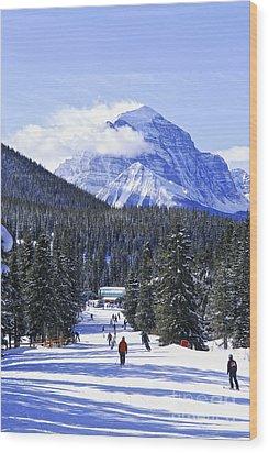 Skiing In Mountains Wood Print by Elena Elisseeva