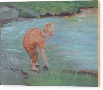 Wood Print featuring the painting Skipping Stones by Carol Berning
