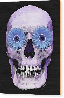 Skull Art - Day Of The Dead 3 Wood Print by Sharon Cummings