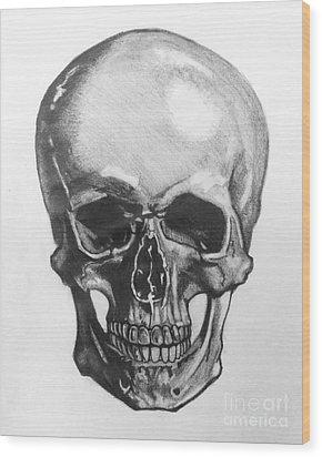 Skull Wood Print by Mack Galixtar