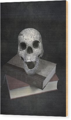 Skull On Books Wood Print by Joana Kruse