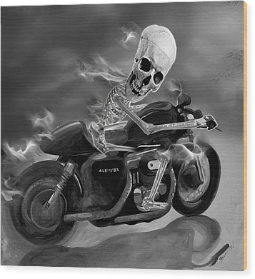 Skull Rider On Cafe Sportster Wood Print by Janet Oh