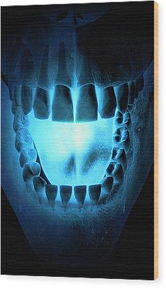 Skull, Teeth And Tongue Wood Print by MedicalRF.com