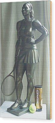 Skupture Tennis Player Wood Print by Zlatan Stoilov