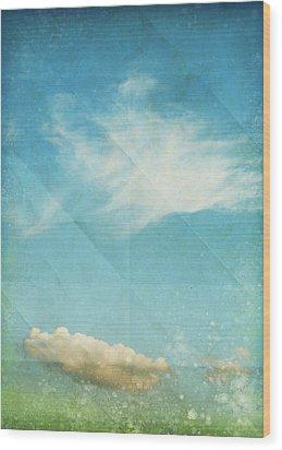 Sky And Cloud On Old Grunge Paper Wood Print by Setsiri Silapasuwanchai