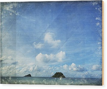 Sky And Cloud On Old Paper Wood Print by Setsiri Silapasuwanchai