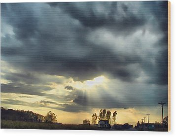 Sky In Turmoil Wood Print by Tom Schmidt