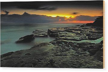 Sky Of Fire Wood Print by Mark Lucey
