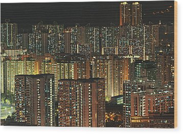 Skyline At Night Wood Print by Ryan Cheng Photography