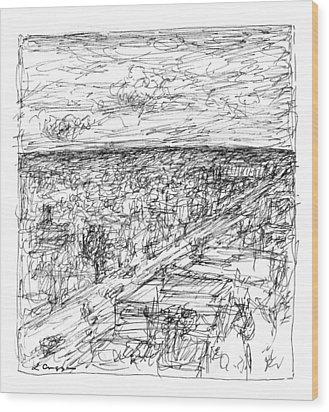 Skyline Sketch Wood Print by Elizabeth Carrozza