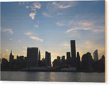 Skyline Sunset Silhouette Wood Print by Heidi Hermes