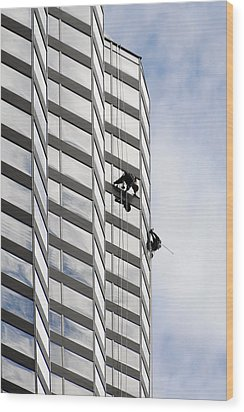 Skyscraper Window-washers - Take A Walk In The Clouds Wood Print by Christine Till