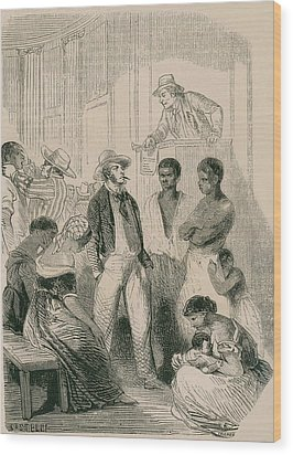 Slave Market In The United States Wood Print by Everett