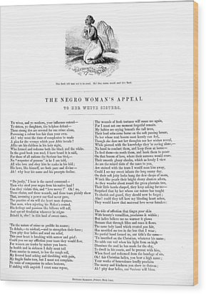 Slavery. An Abolitionist Poem Entitled Wood Print by Everett
